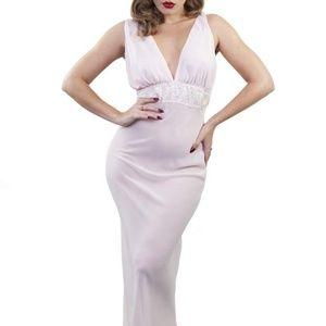 Pink Bettie Page Chiffon Chemise Slip Dress